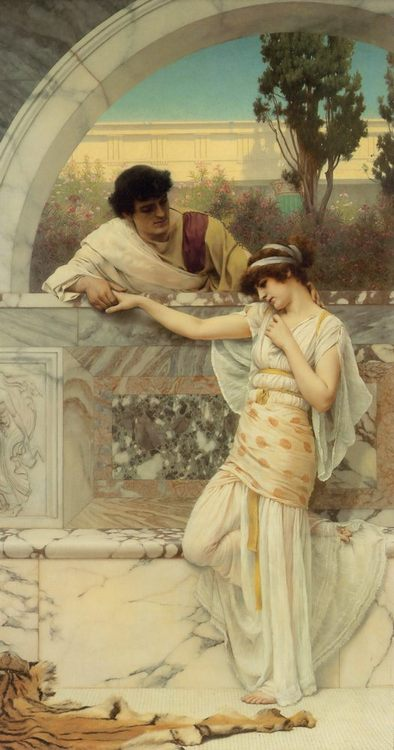'Yes or No'  :: John William Godward - Romantic scenes in art and painting фото