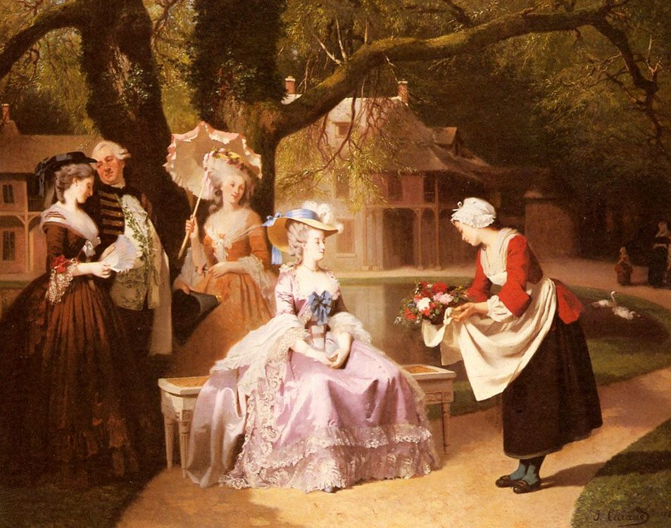 Marie Antoinette and Louis XVI in the Garden of the Tuileries with Madame Lambale ::Joseph Caraud  - Romantic scenes in art and painting фото