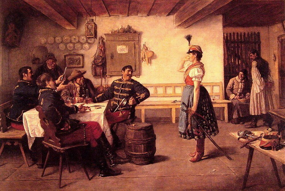 The Flirt :: Koloman Dery - Romantic scenes in art and painting ôîòî