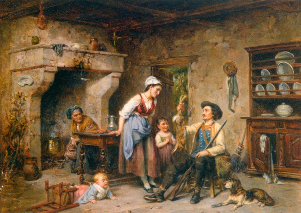 The Huntsmans Home Coming :: Leon Caille - Romantic scenes in art and painting ôîòî