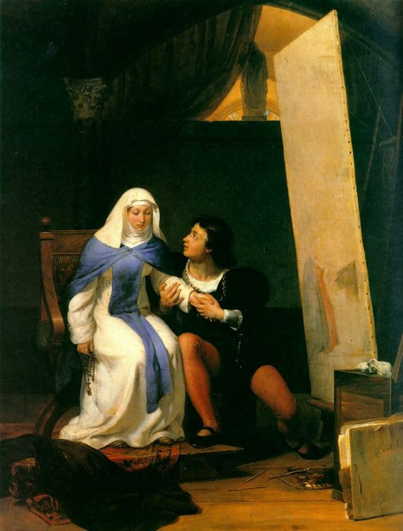 Fra Filippo Lippi Falling in Love with his Model :: Paul Delaroche - Romantic scenes in art and painting фото