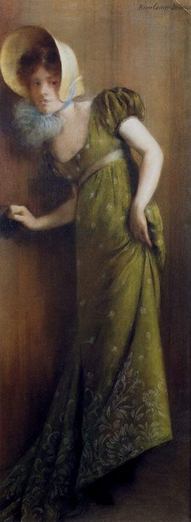 Elegant Woman In A Green Dress :: Pierre Carrier-Belleuse - Romantic scenes in art and painting фото