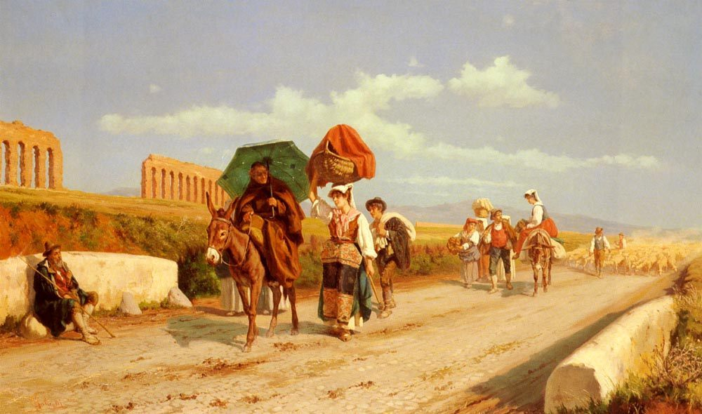 Travellers In The Roman Campagna :: Pietro Gabrini - Romantic scenes in art and painting фото
