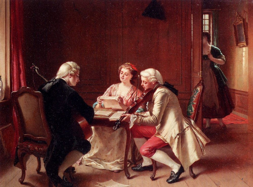 A Pleasant Tune :: Theodore Ceriez - Romantic scenes in art and painting фото