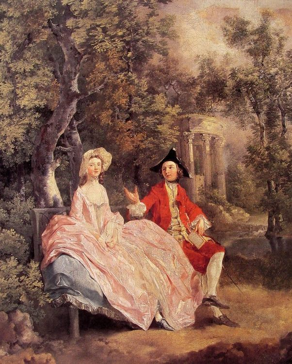 Conversation in a Park :: Thomas Gainsborough - Romantic scenes in art and painting ôîòî