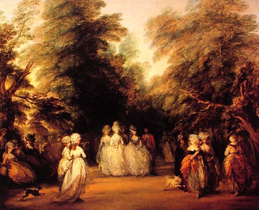 The Mall :: Thomas Gainsborough - Romantic scenes in art and painting фото