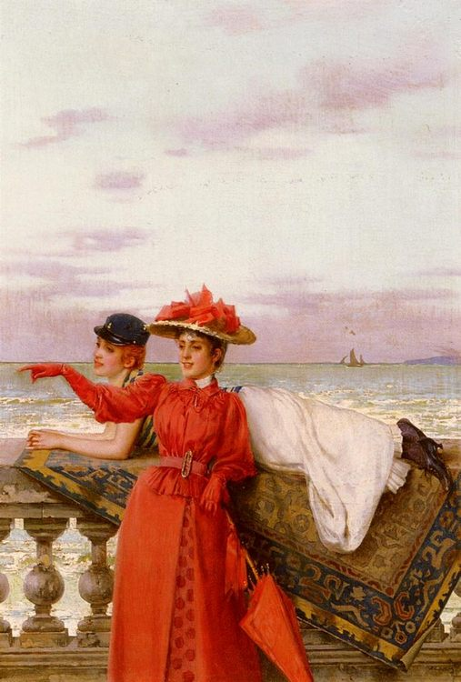 Looking Out To Sea :: Vittorio Matteo Corcos - Romantic scenes in art and painting фото