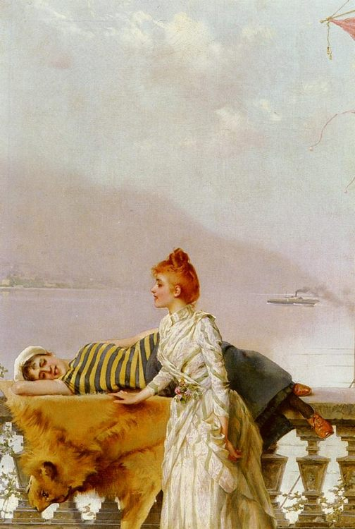 On The Balcony :: Vittorio Matteo Corcos - Romantic scenes in art and painting фото