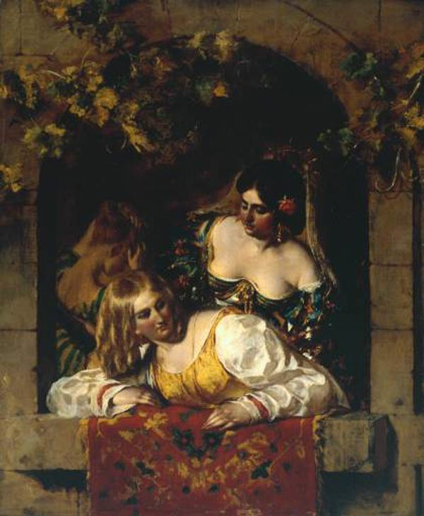 Window in Venice, during a Fiesta :: William Etty - Romantic scenes in art and painting фото