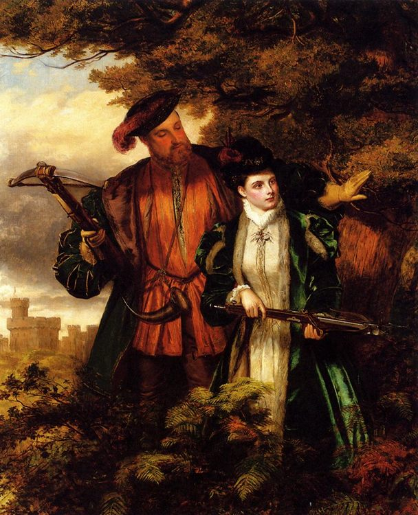 Henry VIII and Anne Boleyn Deer Shooting In Windsor Forest :: William Powell Frith - Romantic scenes in art and painting фото