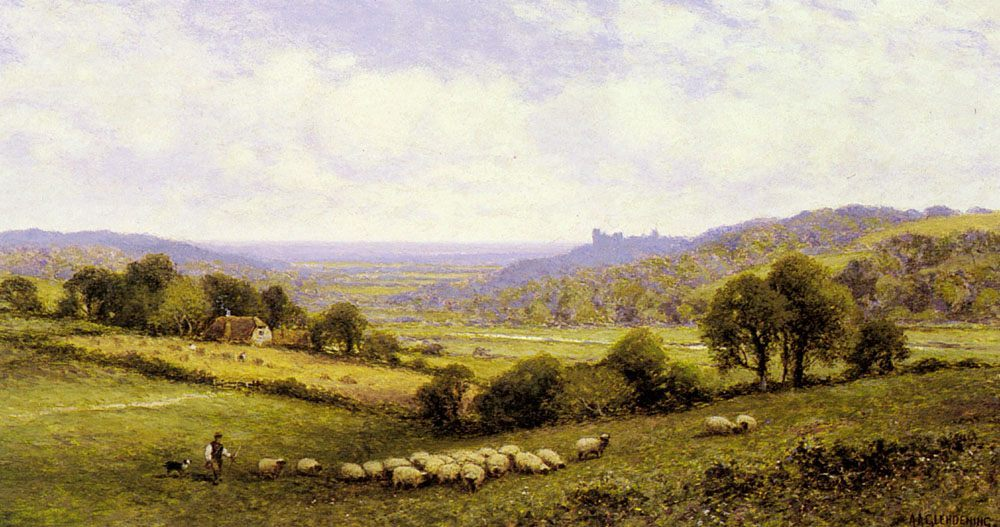 Near Amberley, Sussex, with Arundel Castle in the Distance :: Alfred Glendening  - Village life ôîòî