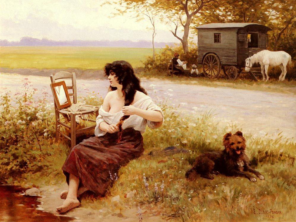 Gipsy at her Toilette :: Edouard Bernard Debat-Ponsan - Village life ôîòî