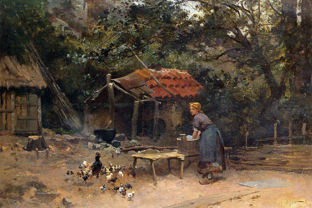 The Chicken Run :: Emile Charles Dameron - Village life ôîòî