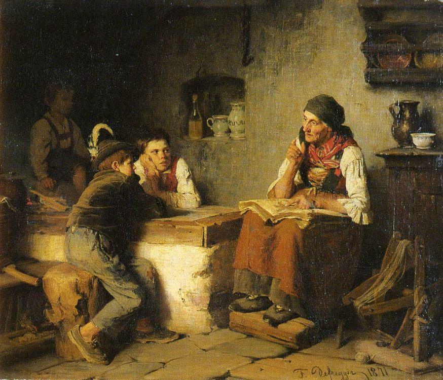Die Marchenerzahlerin :: Franz Von Defregger - Village life фото