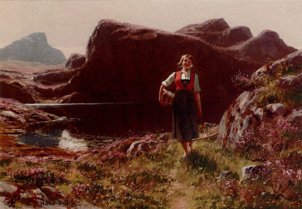 A Girl On A Sunlit Track Before A Fjord :: Hans Dahl - Village life ôîòî
