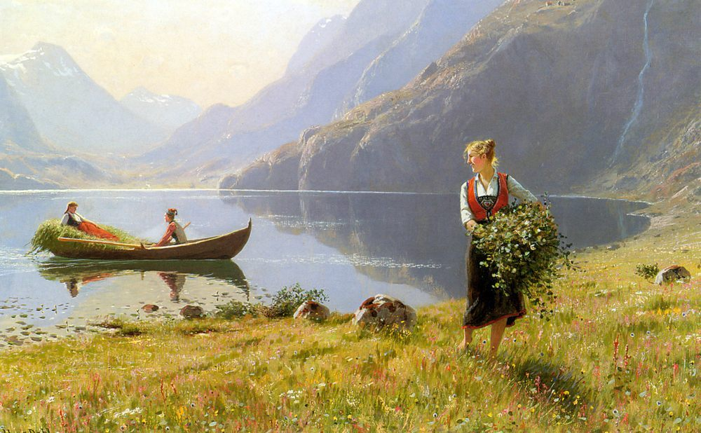 On The Banks of the Fjord :: Hans Dahl  - Village life фото