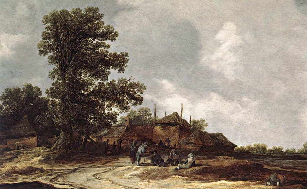 Farmyard with Haystack :: Jan van Goyen  - Village life фото