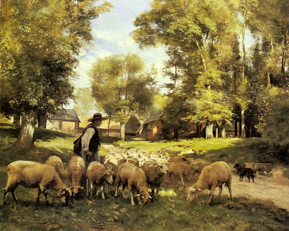 A Shepherd and his Flock :: Julien Dupre  - Village life фото