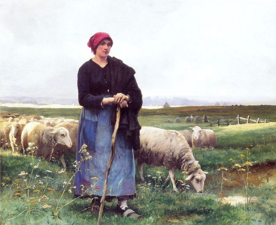 A Shepherdess with her flock :: Julien Dupre - Village life ôîòî