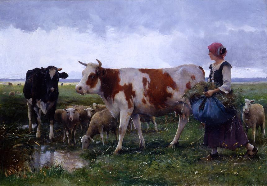 Peasant Woman with Cows Sheep :: Julien Dupre - Village life ôîòî