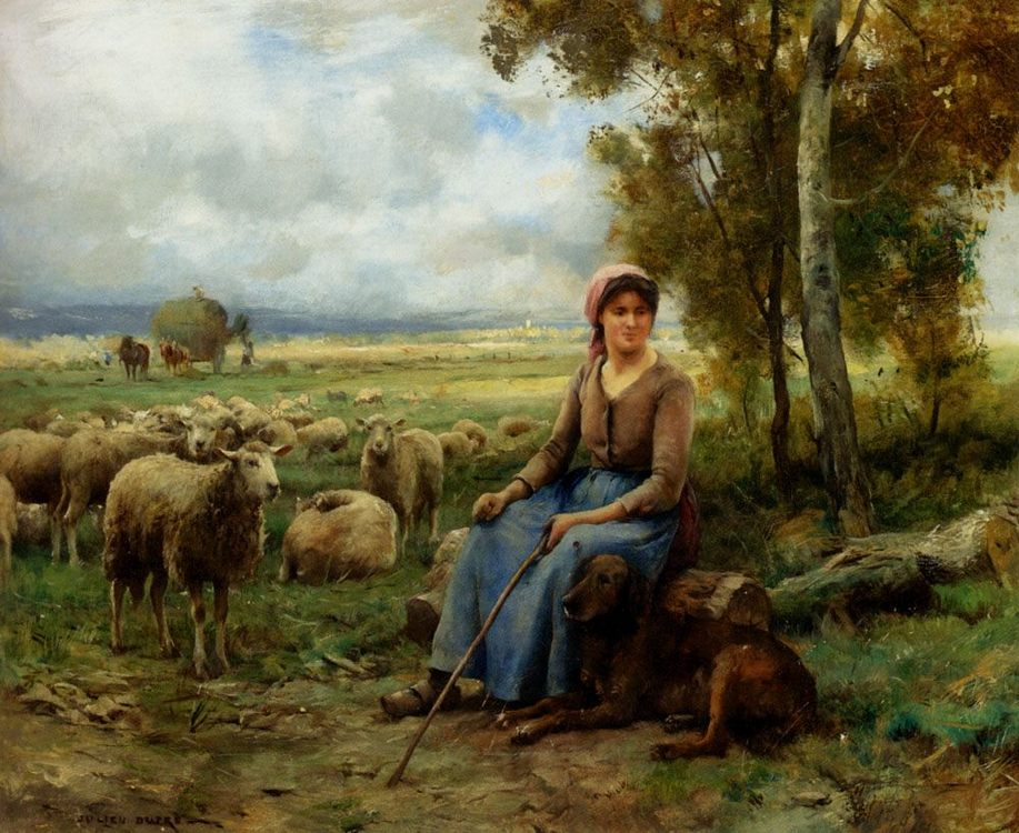 Shepherdess Watching Over Her Flock :: Julien Dupre - Village life фото