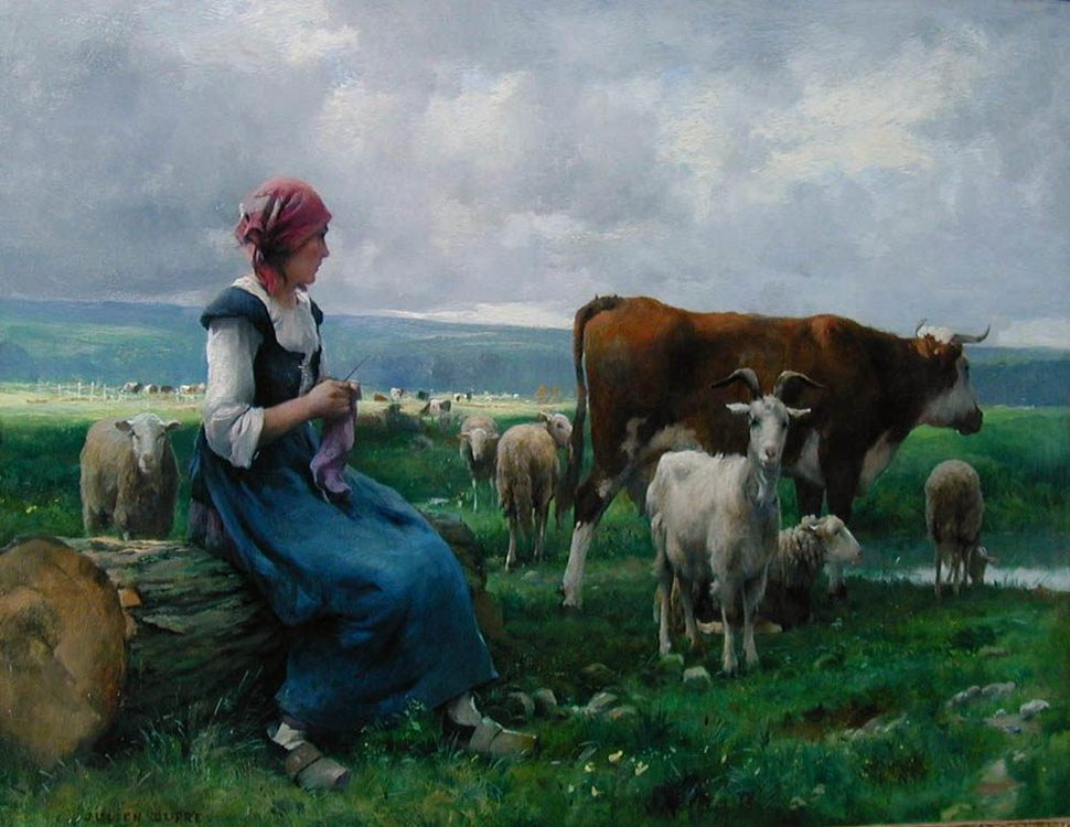 Shepherdess with Goat, Sheep and Cow :: Julien Dupre - Village life фото