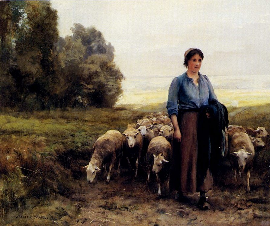 Shepherdess With Her Flock :: Julien Dupre  - Village life фото