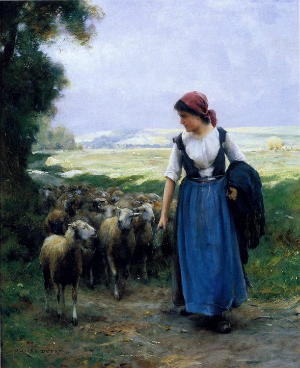 The Young Shepherdess :: Julien Dupre - village life фото