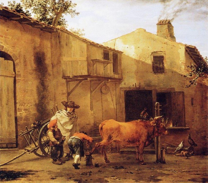 A Smith Shoeing an Ox :: Karel Dujardin - village life фото