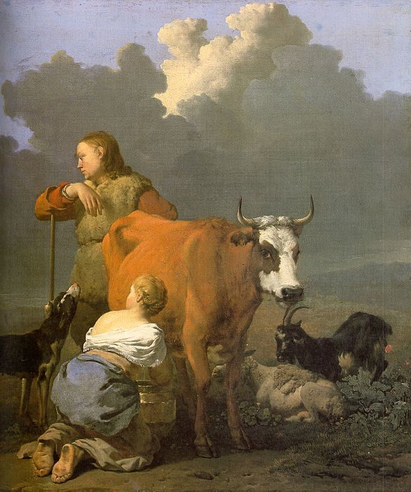 Woman Milking a Red Cow :: Karel Dujardin - Village life фото