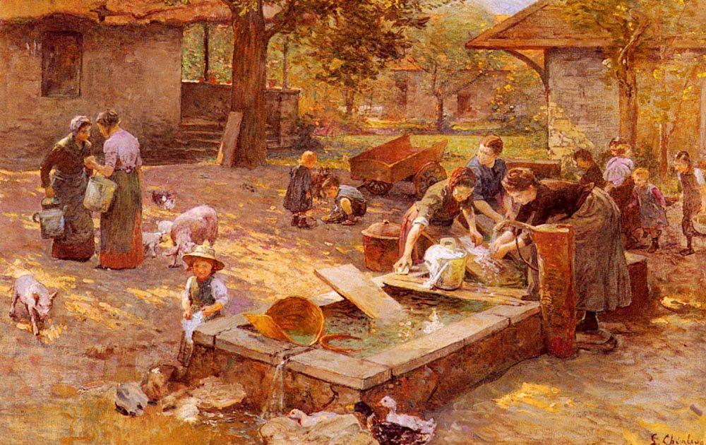 At The Washing Place :: Luigi Chialiva - Village life ôîòî