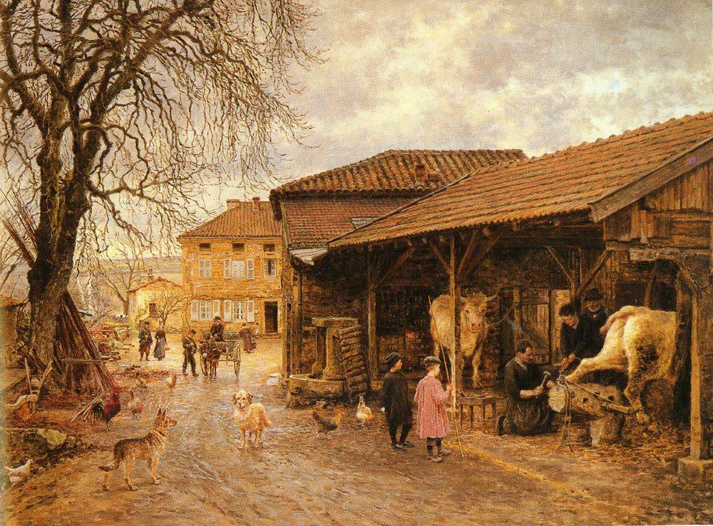 Le Feurage Des Boeufs :: Marie Firmin - Girard - Village life фото