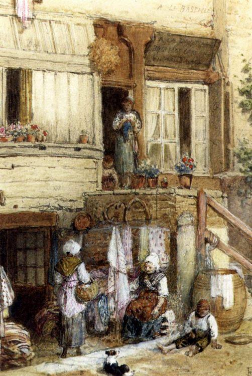 A La Bastille Watercolor :: Myles Birket Foster - village life фото