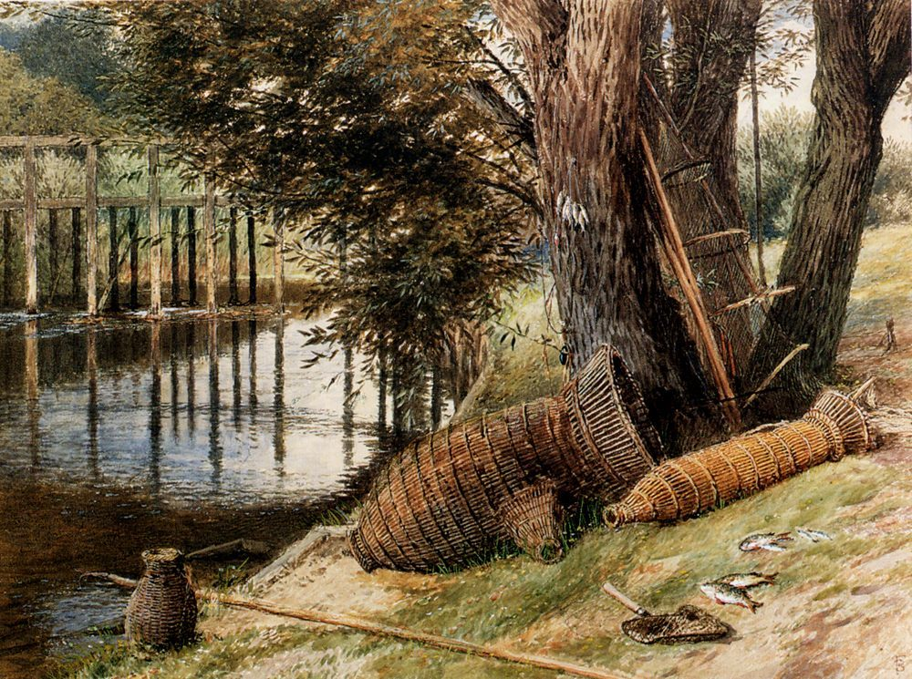 Eel Pots, On The Banks Of A River :: Myles Birket Foster - Village life фото