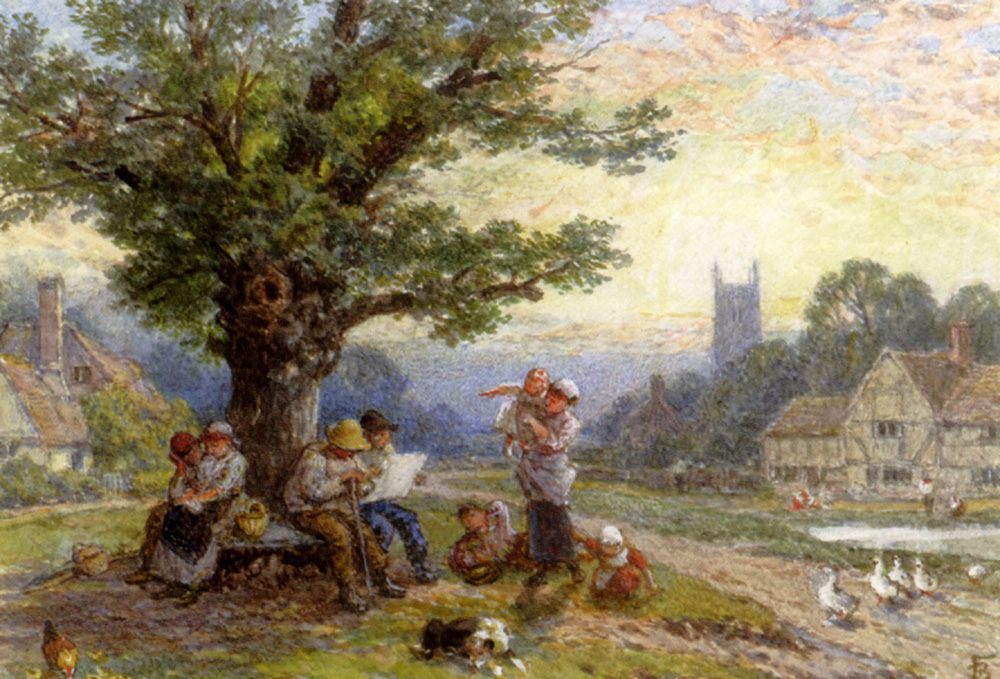Figures And Children Beneath A Tree In A Village Watercolor :: Myles Birket Foster - Village life фото