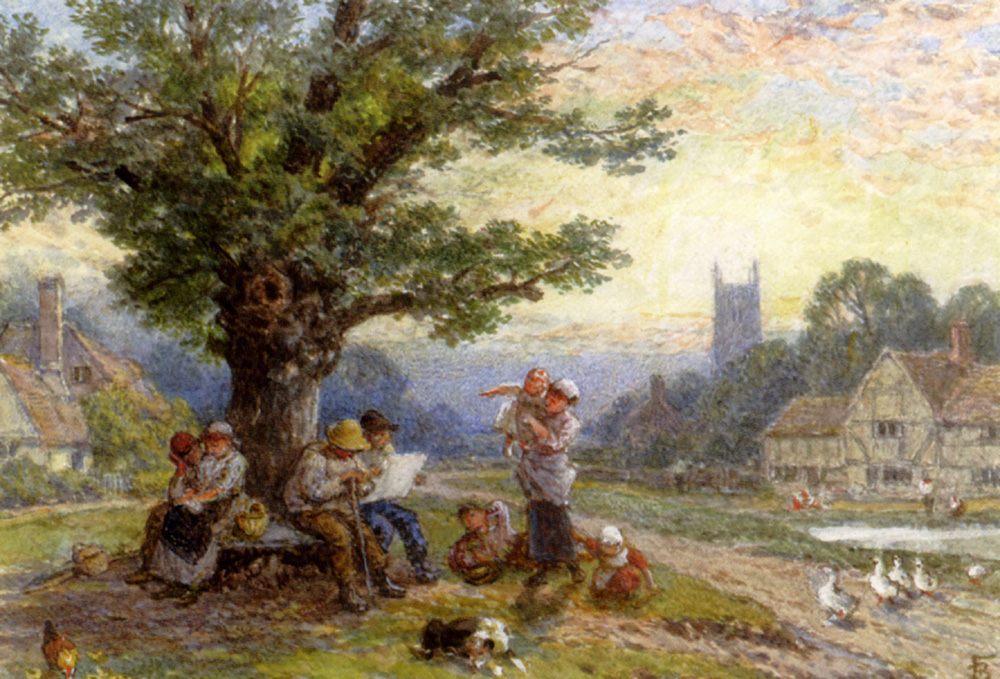 Figures And Children Beneath A Tree In A Village Watercolor :: Myles Birket Foster - Village life ôîòî
