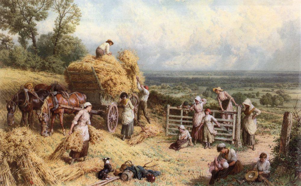Harvest Time :: Myles Birket Foster - Village life фото