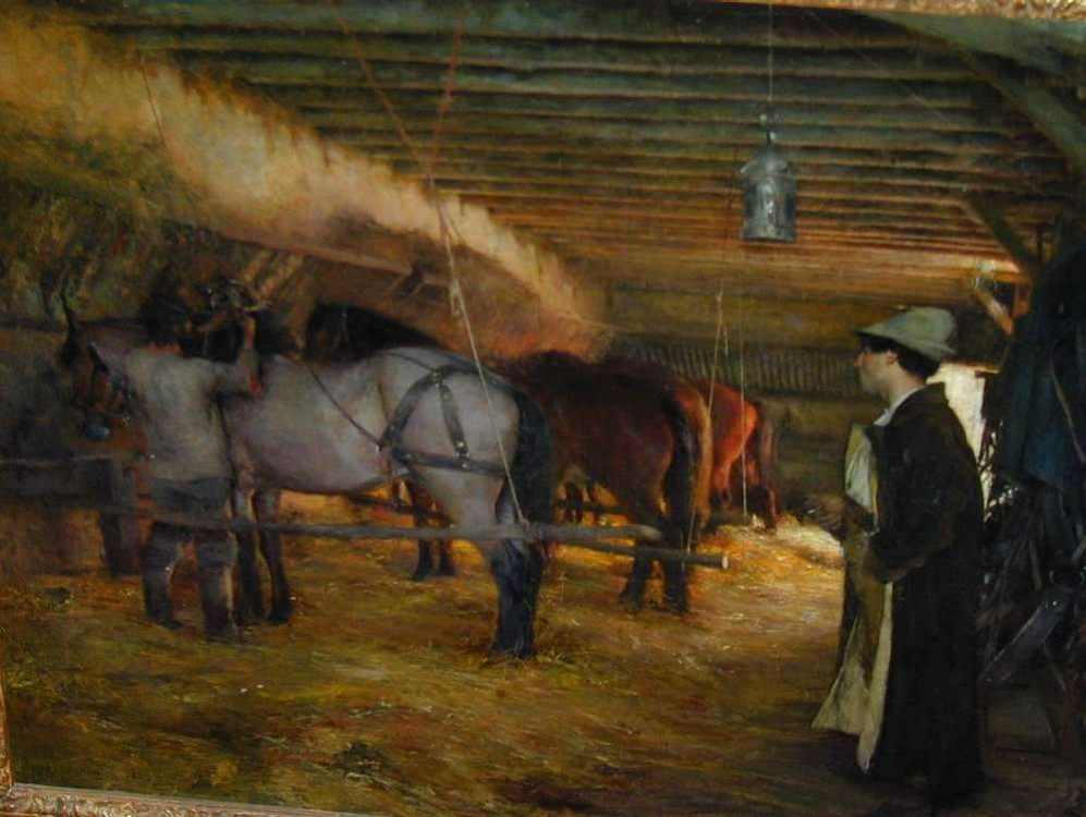 In the Stable :: Pascal-Adolphe-Jean Dagnan-Bouveret - Village life фото