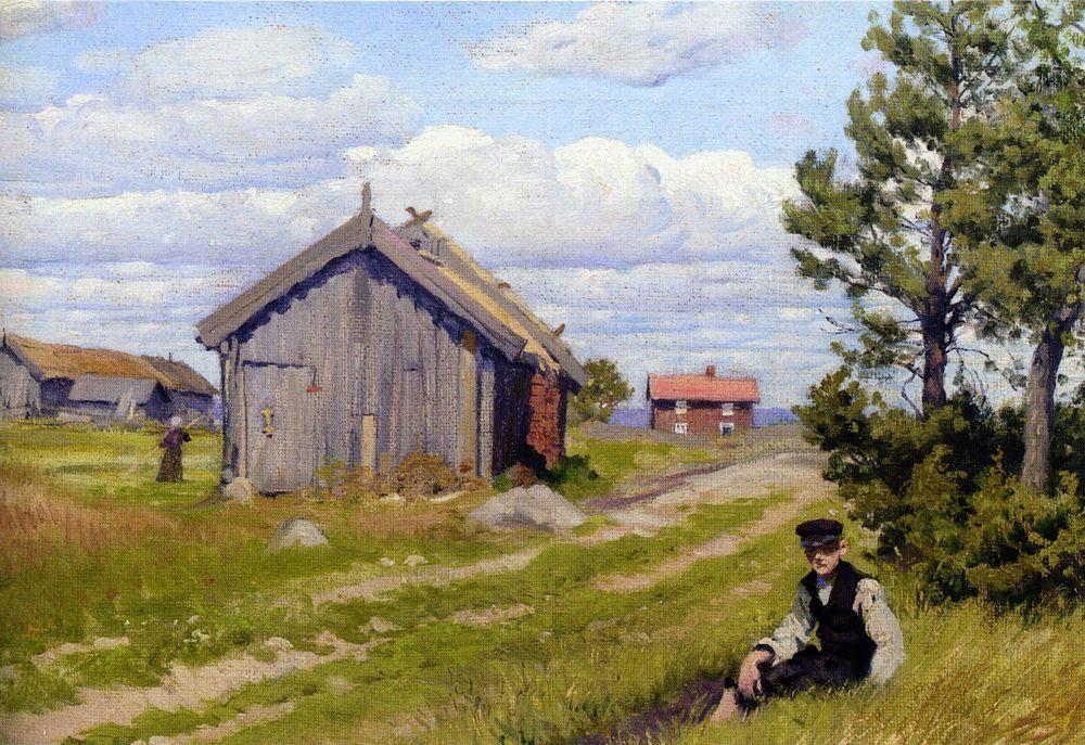 Farmyard :: Paul Gustave Fischer - Village life фото