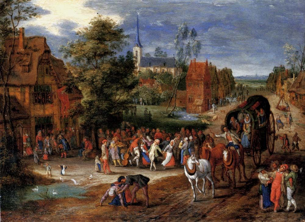 A village kermesse with a horse-drawn cart in the foreground :: Pieter Gysels - Village life фото
