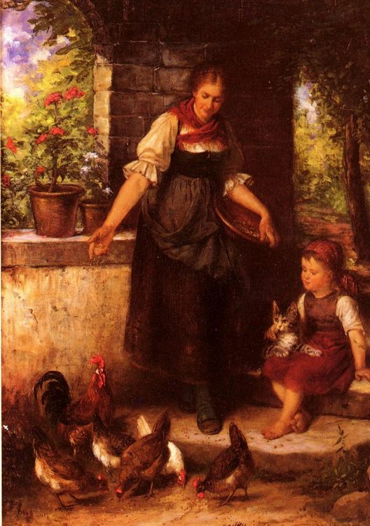 Feeding the Chickens :: Rudolf Epp - Village life ôîòî