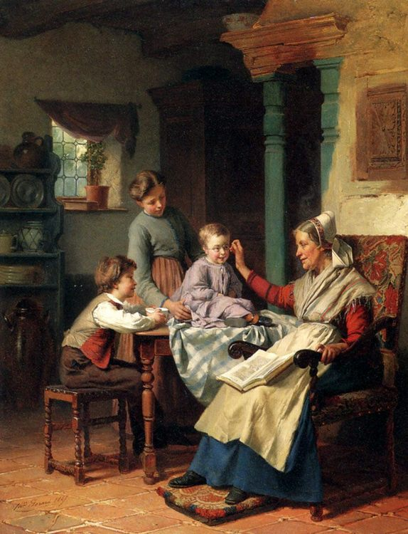Trying On Grandmother's Spectacles :: Theodore Gerard - Village life ôîòî