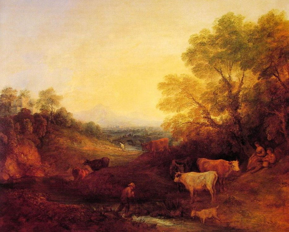 Landscape with Cattle :: Thomas Gainsborough - Village life фото
