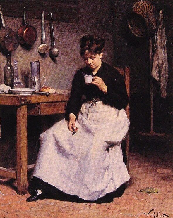 A Cup of Coffee :: Victor Gabriel Gilbert - Village life ôîòî