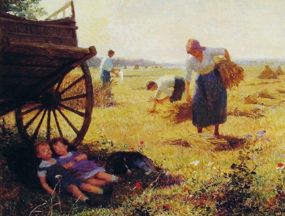 Haymaking :: Victor Gabriel Gilbert - Village life фото