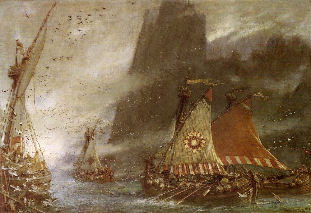 The Sea Raiders :: Albert Goodwin  - Middle ages scenes фото