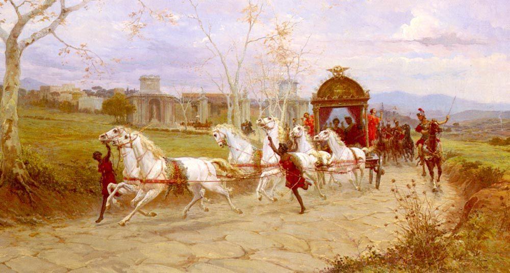 Departure From The Villa At Tivoli :: Eduardo Forti Hadrian's - Antique world scenes ôîòî