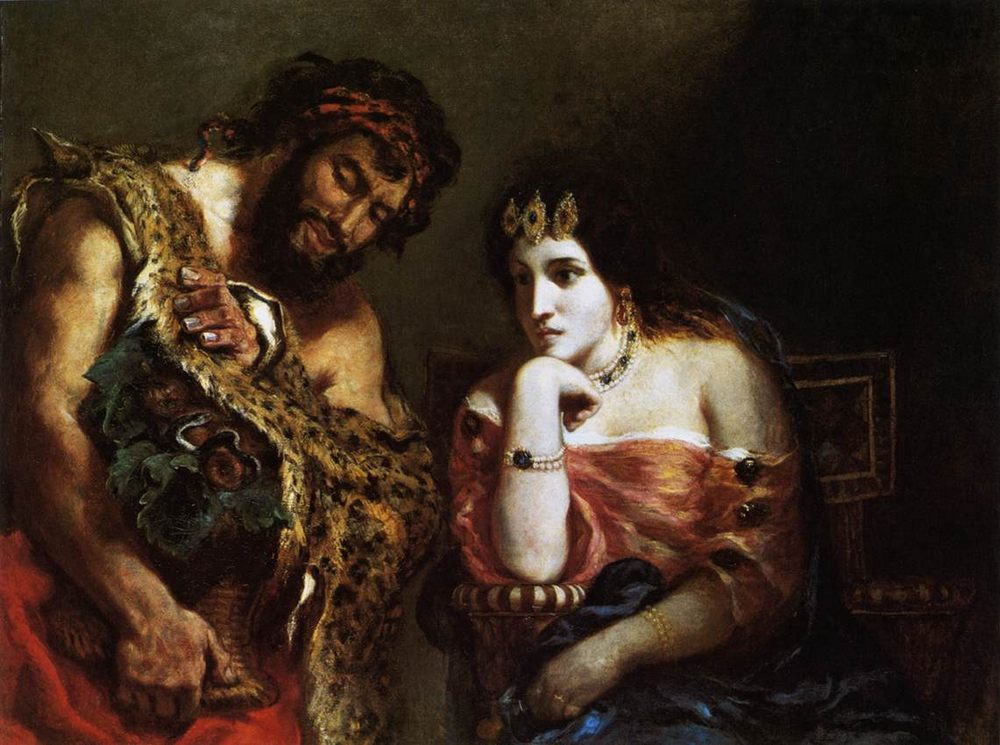 Cleopatra and the Peasant :: Eugиne Delacroix - Antique world scenes фото