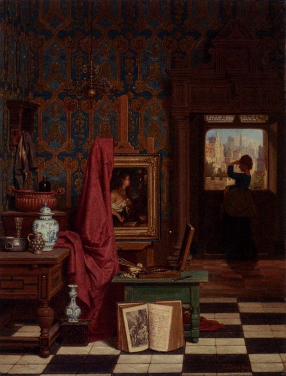 The Artist's Studio :: Charles Joseph Grips - Interiors in art and painting фото