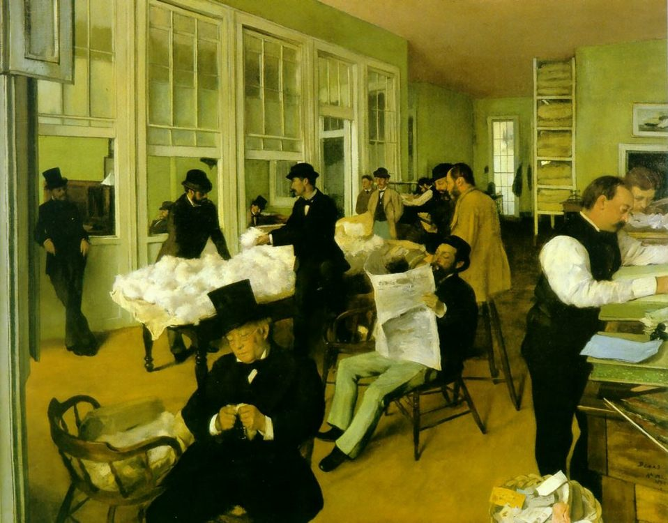Portrait in a New Orleans Cotton Office :: Edgar Degas - Interiors in art and painting ôîòî